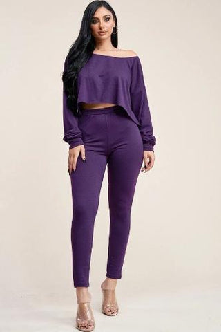 Solid French Terry Long Sleeve Slouchy Top And Leggings Two Piece Set Eggplant - The Jewelry Barn