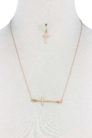 Metal Gold/Silver Cross Charm Necklace - The Jewelry Barn