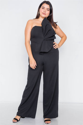 Plus Size Tailored Frill Wide Leg Sleeveless Cocktail Jumpsuit - The Jewelry Barn