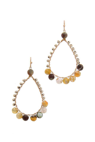 Teardrop Shape Beaded Drop Earring - The Jewelry Barn