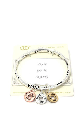 True Love Waits Quote Bangle - The Jewelry Barn