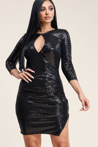 Solid Metallic Trans 3/4 Sleeve Dress