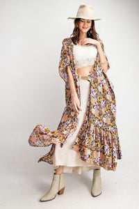 Rayon Challis Ruffle Bottom Maxi Open Kimono - The Jewelry Barn