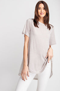 Short Sleeves Rayon Slub Mix And Match Striped Contrast Boxy Top - The Jewelry Barn