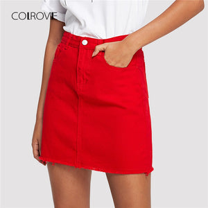 Frayed Hem Pockets Denim Skirt Spring Red - the-jewelry-barn