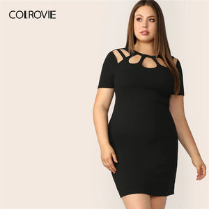 Plus Size Black Solid Cut Out Bodycon Elegant Dress - the-jewelry-barn