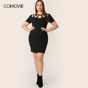 Plus Size Black Solid Cut Out Bodycon Elegant Dress - The Jewelry Barn
