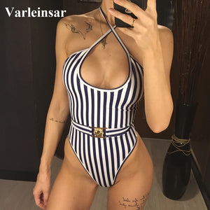 NEW Striped Halter One Piece Swimsuit 2019 Women - the-jewelry-barn