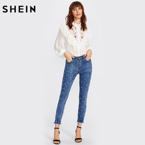 Women's Skinny Pearl Beaded Frayed Hem Jeans - The Jewelry Barn