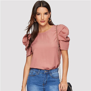 Elegant Keyhole Back Puff Sleeve Solid Top - The Jewelry Barn