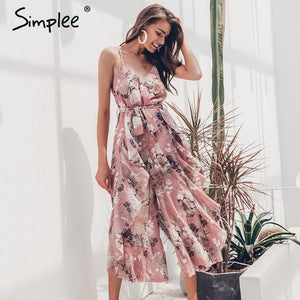 Simplee Bohemian floral print women jumpsuit - The Jewelry Barn