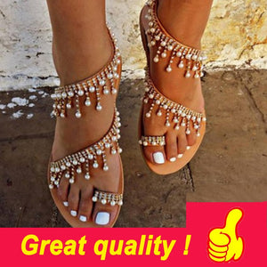 Women's sandals summer flat pearl string beads - the-jewelry-barn