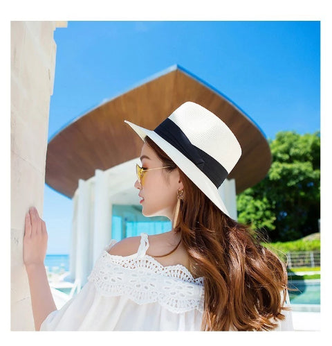 2019 Summer unisex sun hat casual vacation Panama straw - the-jewelry-barn
