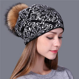 China blue and white style wool Knitted Hat for Women - the-jewelry-barn