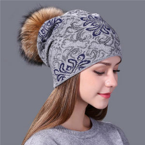 China blue and white style wool Knitted Hat for Women - The Jewelry Barn