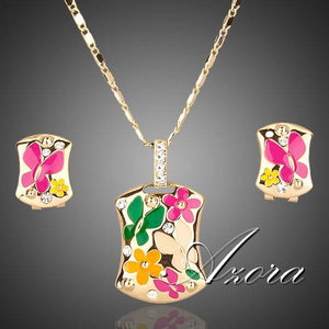 Gold Color Multicolour Flower Clip Earrings and Necklace Set - The Jewelry Barn