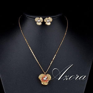 Classic Gold Color Flower Design Clip Earring Necklace Set - The Jewelry Barn