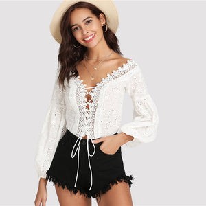 Shein Lace Trim Plunge Neck Eyelet Embroidered Bodysuit - The Jewelry Barn