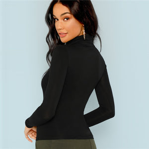 Black Turtleneck Slim Fit Ladies Plain High Neck... - The Jewelry Barn