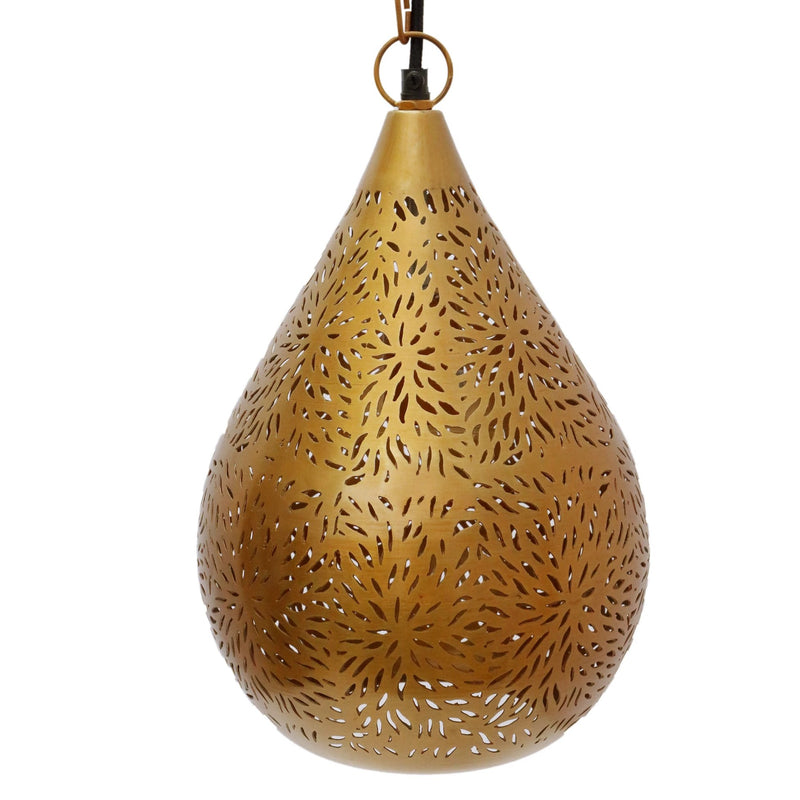 SMITH&SMITH Kova Small Antique Brass Perforated Teardrop Pendant Lamp.