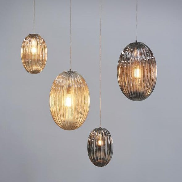 Ganmain Champagne-coloured Ribbed Glass Pod Pendant Lamp also available Smoke Grey from SMITH&SMITH Lighting Sydney