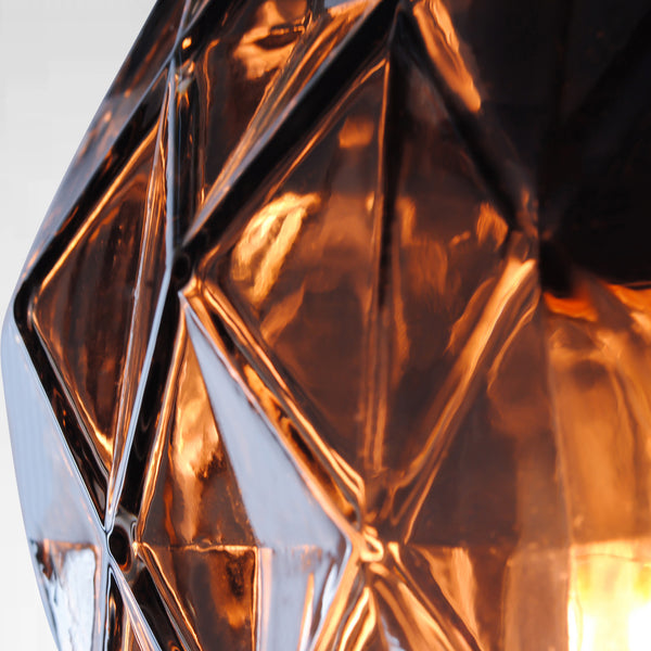 copper coloured cut glass pendant light detailing