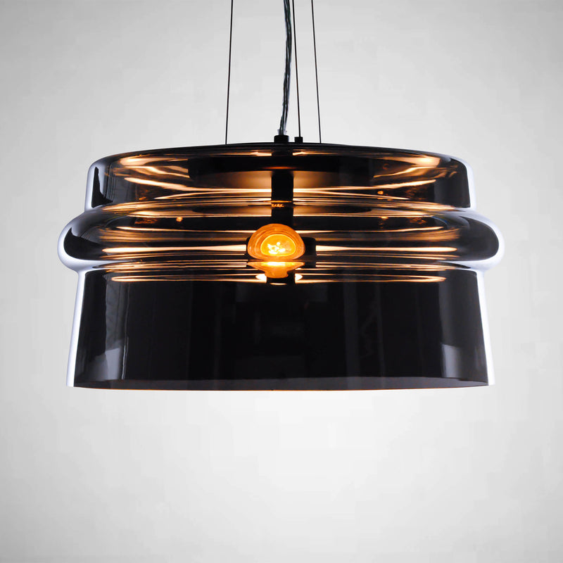 glass drum pendant light