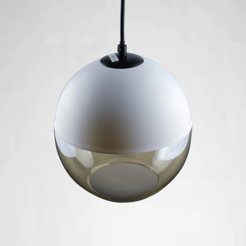 bubble pendant light with white dome top and cognac glass bottom