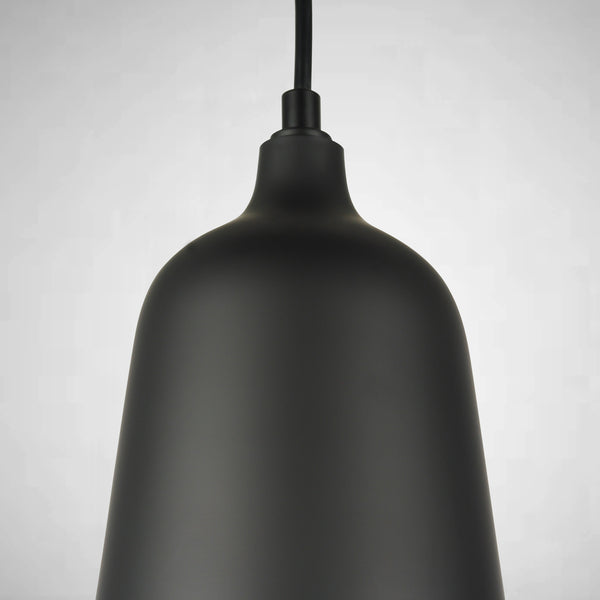 matt black finish on aluminium pendant light