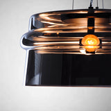 glass drum pendant light with A60 led bulb