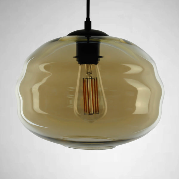cognac pendant light with filament bulb