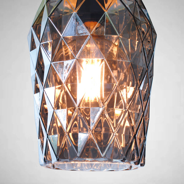 large smoked cut glass pendant light