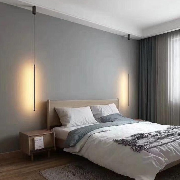 Eureka Black LED Linear Drop Pendant Lamps in Bedroom by SMITH&SMITH Lighting insta