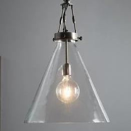 Rivina Large Antique Silver Hand-blown Glass Cone Pendant Lamp
