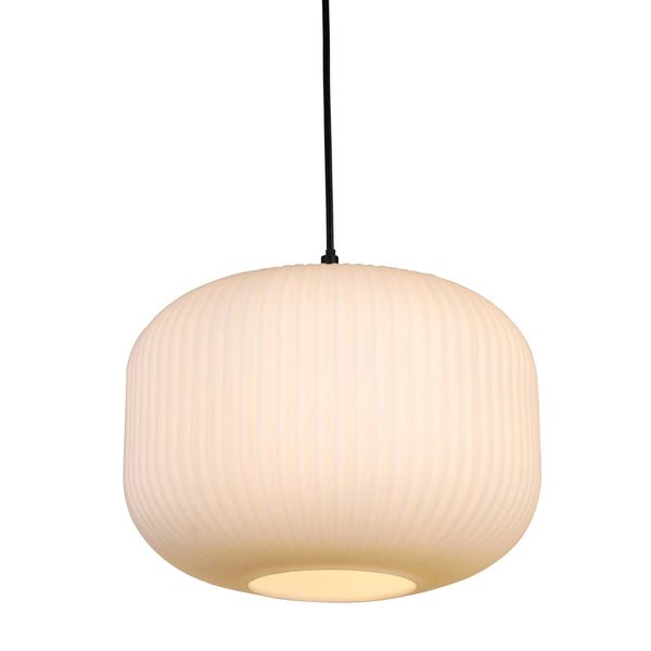 Ashter Hand-blown Lantern Pendant in Matte-white Opal Glass