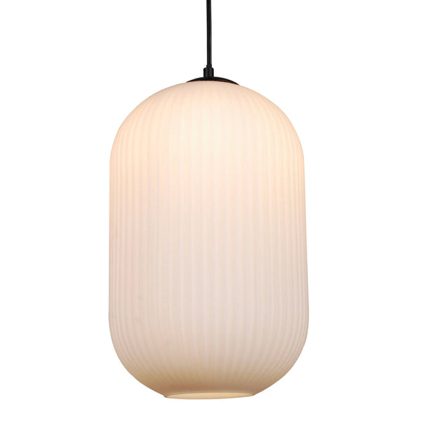 Reffro Rippled Opal Glass Column Pendant Lamp