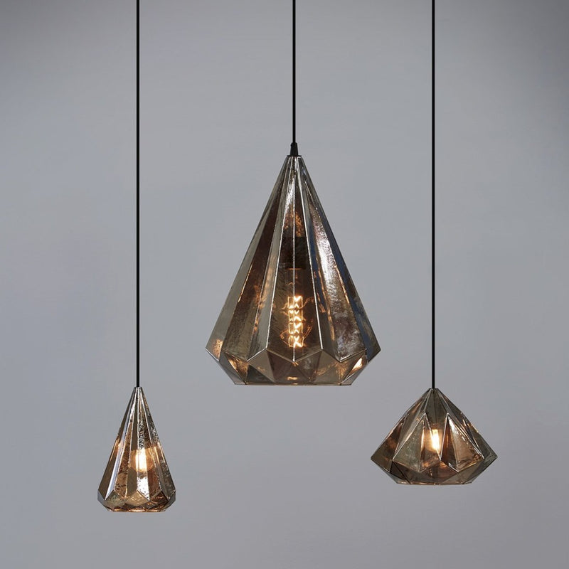 Kimberley Pendant Lamp in Smoke Glass - available from SMITH&SMITH - available in various sizes