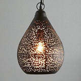 Kova Small Black Perforated Teardrop Pendant Lamp