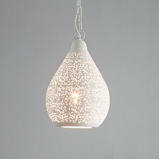 SMITH&SMITH Kova White Perforated Teardrop Pendant Light_Zaffero Aquarius White Perforated Teardrop Pendant Light