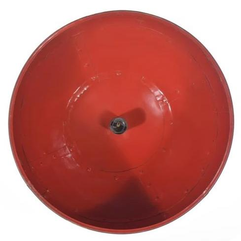 Rivé Medium Matte-black Riveted Dome Pendant with red interior
