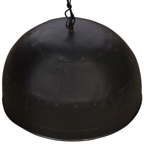 Rivé Medium Matte-black Riveted Dome Pendant with white interior