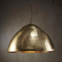 Walton Large Antique Brass Iron Riveted Dome Pendant Lamp