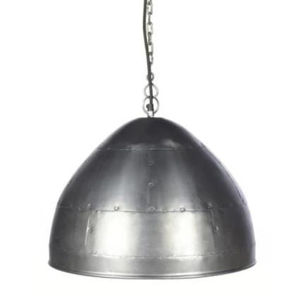 Walton Small Shiny Zinc Iron Riveted Dome Pendant Lamp