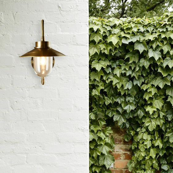 SMITH&SMITH Anniston Outdoor Lamp in Antique Brass on outdoor Australian Home White brick wall insta