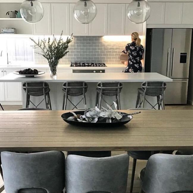 SMITH & SMITH Rotherhithe Antique Silver Round Clear Pendant Collection hanging above Australian kitchen island bench insta