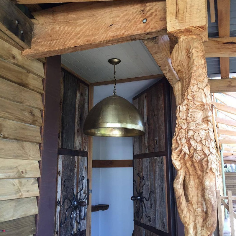 SMITH & SMITH Walton Large Antique Brass Iron Riveted Dome Pendant Lamp hanging hanging out front of an Australian log cabin insta