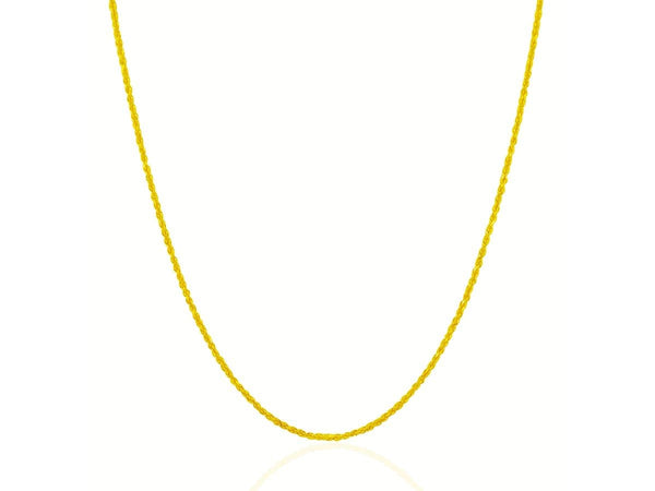 1.25 mm 14K Yellow Gold Solid Diamond Cut Rope Chain