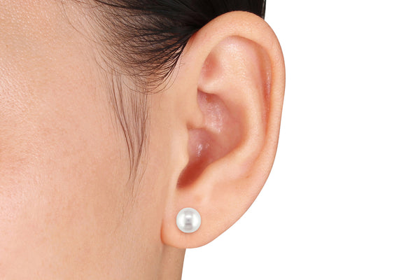 Michiko Freshwater Cultured White Pearl 14K Polished White Gold Stud Earrings