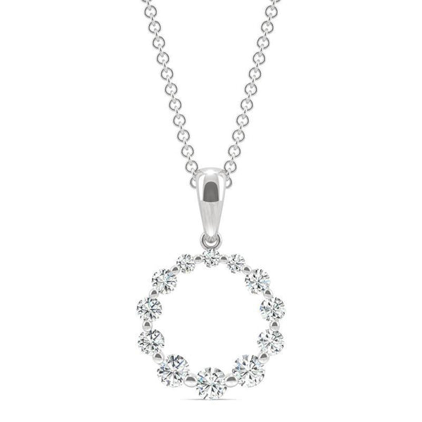 Moissanite Round Pendant Necklace in 14k White Gold