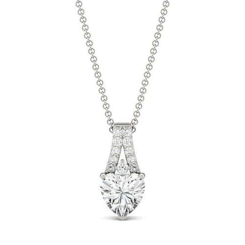 1.36ct Moissanite Heart Drop Pendant in 14k White Gold